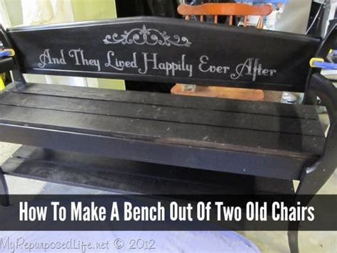 how to make a bench out of a headboard how to make a bench out of two chairs