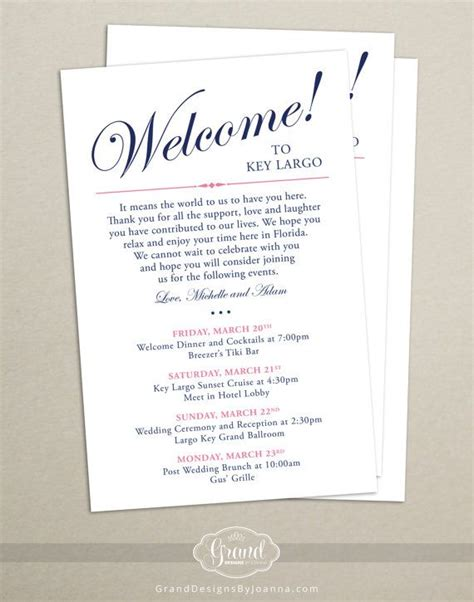 welcome bag letter template itinerary cards for wedding hotel welcome bag printed