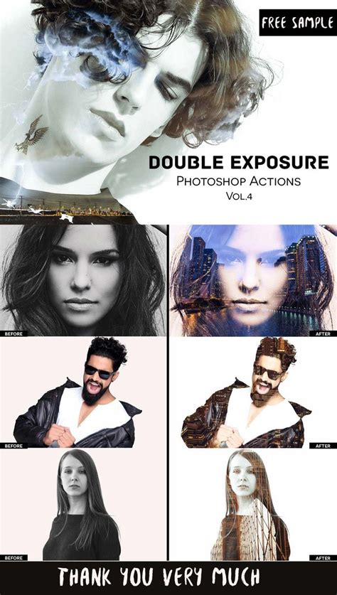 double exposure action tutorial free double exposure effect photoshop actions vol 4