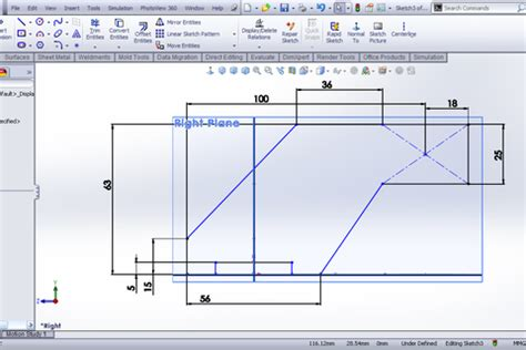 Combine 2 Sketches Solidworks tutorial using combine feature to create part in