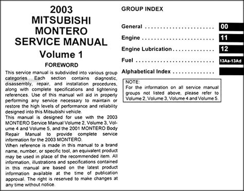 repair manuals mitsubishi montero 2003 repair manual 2003 mitsubishi montero repair shop manual set original