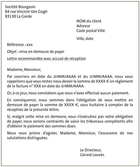 Exemple De Lettre Recommandée De Mise En Demeure Fiche Ressource 18 Les Lettres De Relance La Proc 233 Dure De Recouvrement