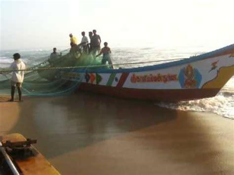 modern fishing boat in india fishing boats going to sea mahaballipuram india youtube