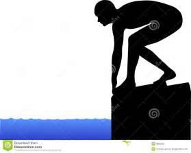 Illustration of a swimmer ready to start a race in position on the