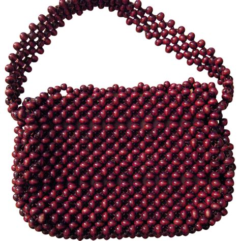 walborg brown beaded purse handmade in japan from beca on