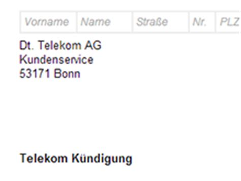 Muster Kündigung Telekom Festnetz Telekom Telefon K 252 Ndigung Vorlage Chip