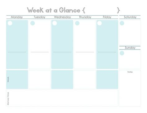 week at a glance template week at a glance free printable calendar template 2016