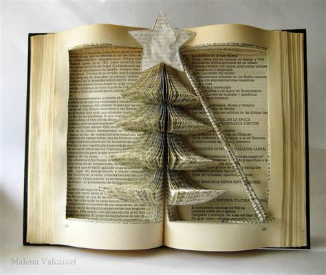 imagenes navidad y libros malena valc 225 rcel original art libro intervenido arbol