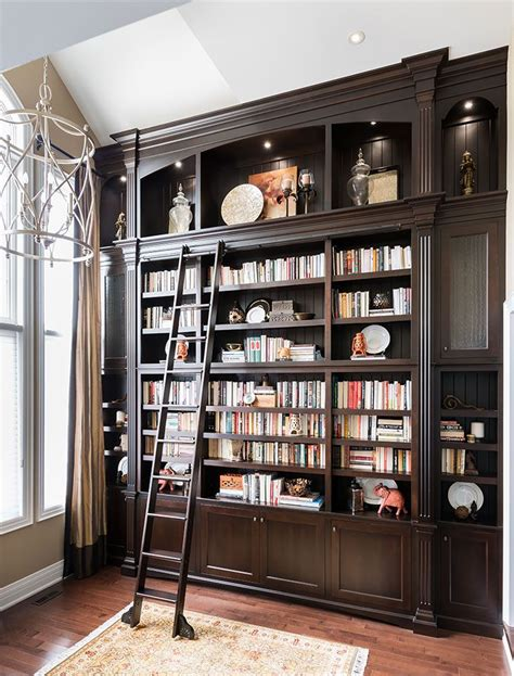 bookshelf astonishing bookcase with ladder and rail