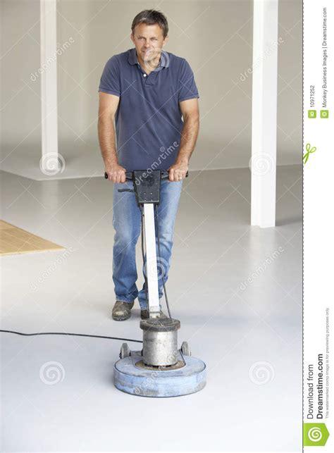 cleaner polishing office floor stock photography image
