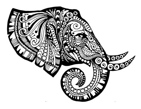 zentangle mandala coloring pages zentangled elephant printable monsters creative and