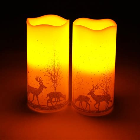 2 real wax flameless led christmas candles battery