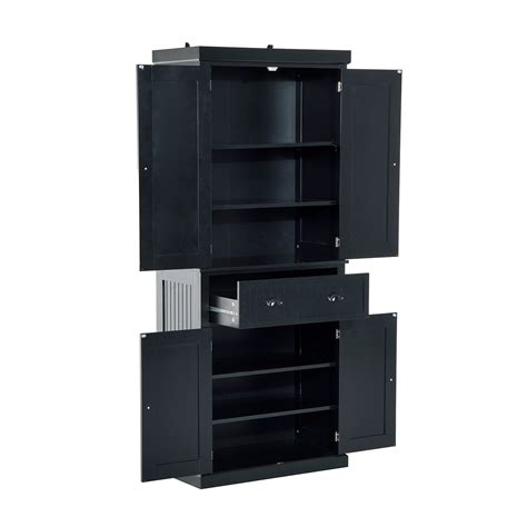homcom colonial storage cabinet kitchen pantry black