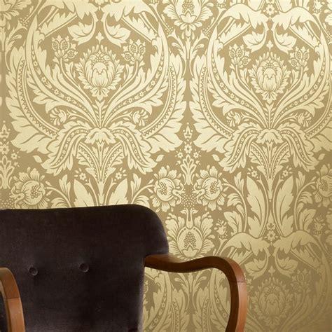 wallpaper gold uk graham brown desire shimmer damask motif pattern gold