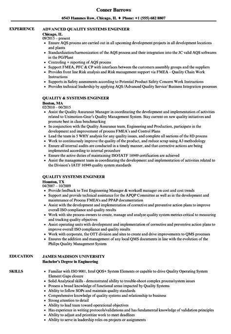 quality systems engineer sle resume vista volunteer