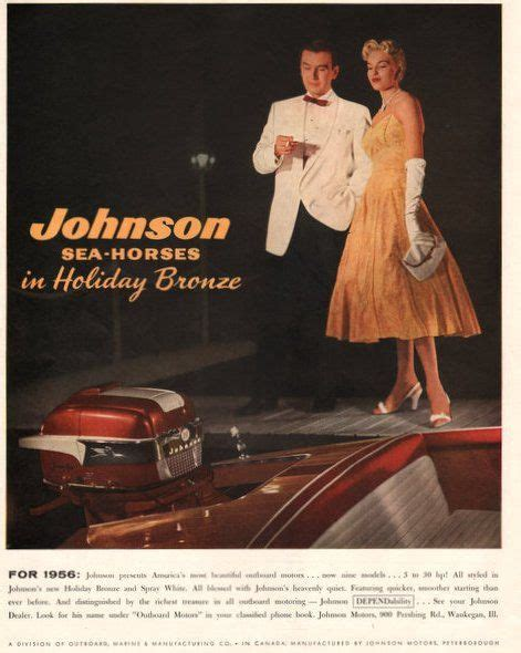 mmm motor boating 1956 johnson sea horse outboard boat motor in holiday by