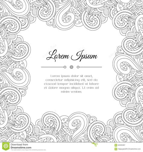 indian wedding doodle abstract tribal zentangle floral frame stock vector
