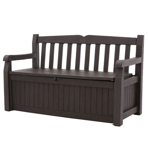 keter 186300 70 gallon garden bench box keter eden 70 gal outdoor garden patio deck box storage bench in brown 213126 the