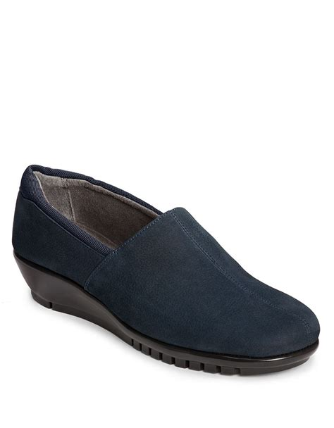aerosoles backbend nubuck slip on shoes in blue lyst