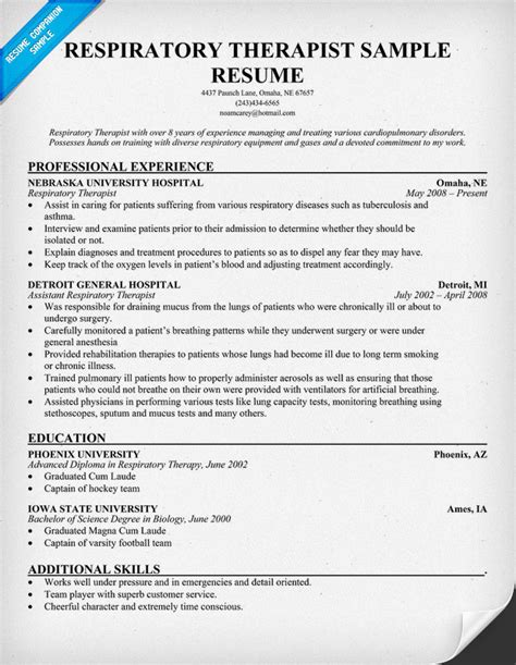 entry level respiratory therapist resume sles sle resume respiratory therapist sle resume