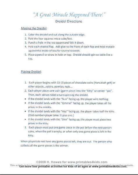 printable directions on how to play dreidel best photos of dreidel game rules printable dreidel game