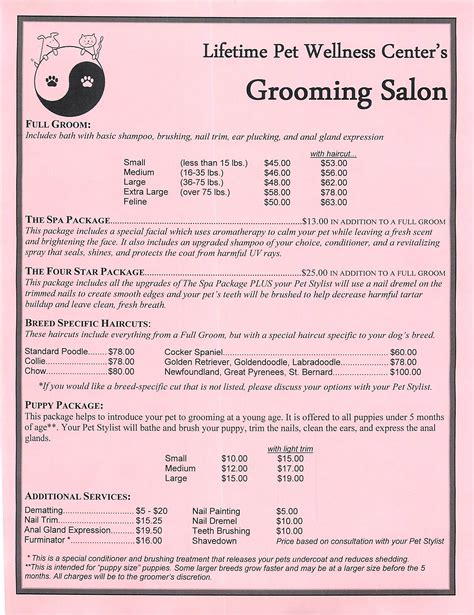 Grooming Price List Template Grooming Services Price Sheet Grooming Stuff Pinterest Grooming Salon Dog And Salons