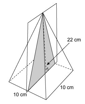 rectangular pyramid cross section a slice is made perpendicular to the base of a right