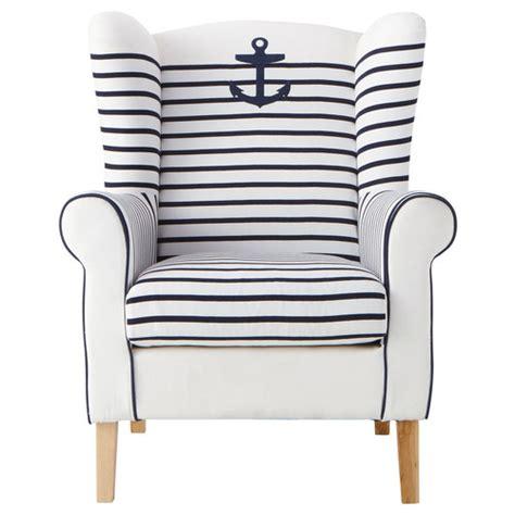 fauteuil jardin 613 fauteuil 224 rayures en coton ivoire et marine corsaire