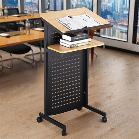 rolling stand up desk wheeled lectern rolling podium mobile compact stand up