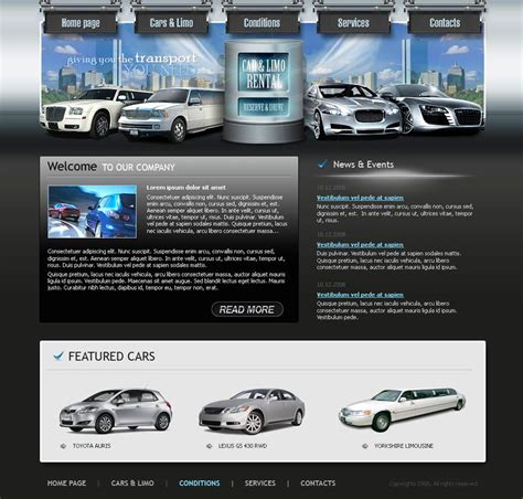 Limo Website Template Entown Posters Rental Website Templates