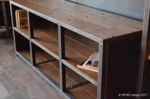 meuble hifi haut de gamme bois m 233 tal style industriel sur