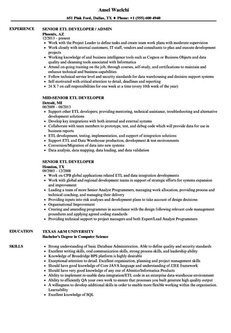 Etl Testing Resume by Charming Etl Test Template Pictures Inspiration