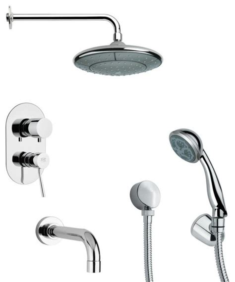 Shower And Tub Faucet Sets by Modern Chrome Tub And Shower Faucet Set With Shower