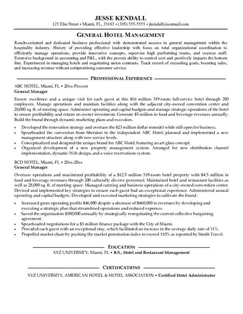 career objective for hotel management hotel general manager resume template