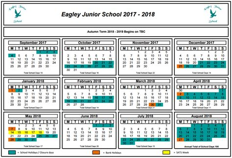 Calendar 2018 With School Holidays Uk Dates Eagley Junior School
