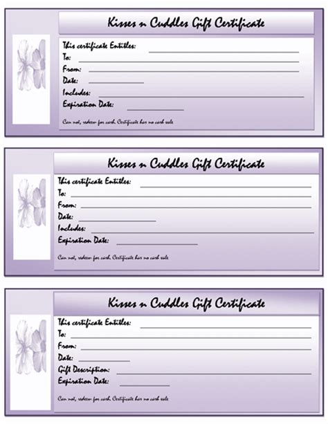 gift certificate template for word gift certificate templates