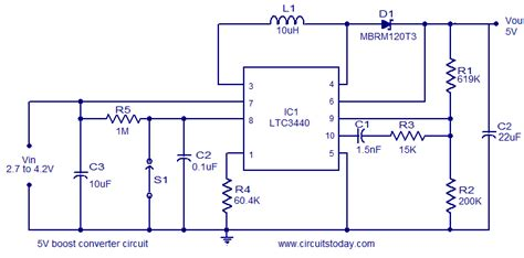 dc dc boost converter circuit diagrams 5v boost coverter using ltc3340 converts 2 7 to 4 2 v dc
