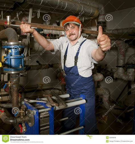 Plumbing Of Thumb by Plumber Giving Thumb Up Royalty Free Stock Photos Image