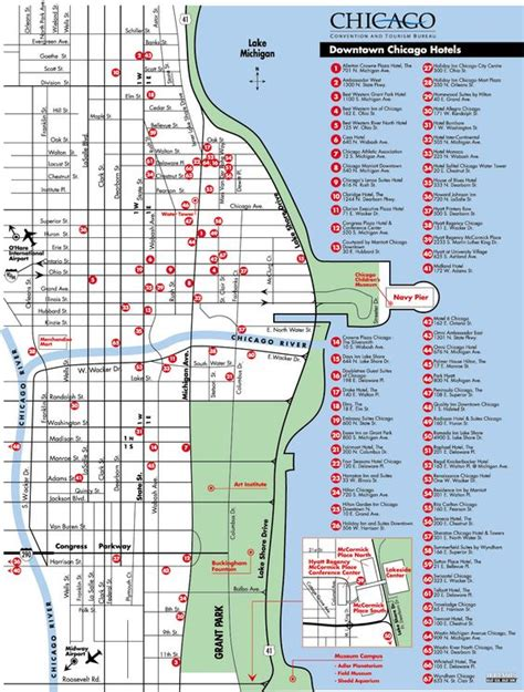 chicago hotel map map of downtown chicago hotels chicago maps things