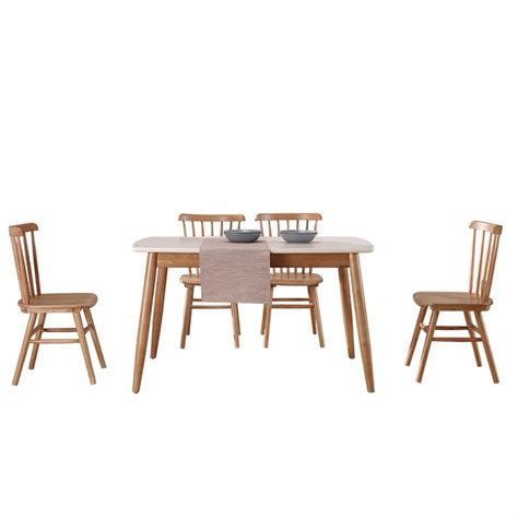 brown finish solid wood 6 seater white marble top dining