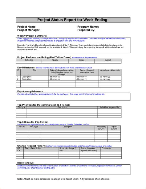 template report weekly status report or project status report for week
