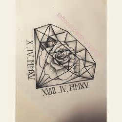 rose with diamond tattoo design