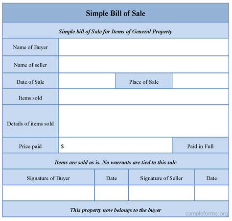 simple printable vehicle bill of sale simple bill of sale template out of darkness