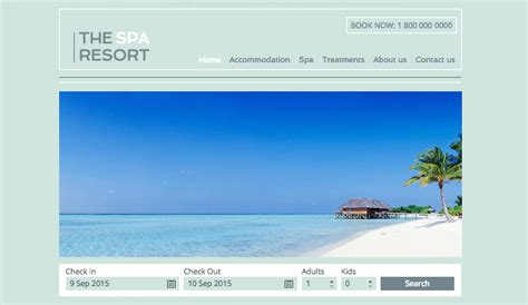 Spa Resort Wix Template Wix Accommodation Template Resort Website Template