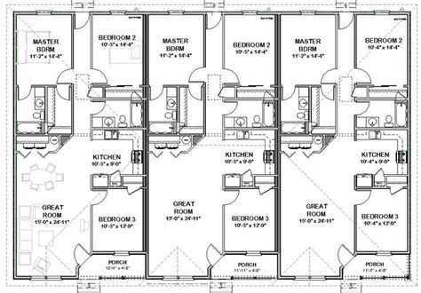 triplex house plans 1 387 s f ea unit 3 beds 2 ba