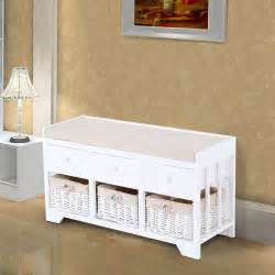 Bench With Wicker Baskets Homcom Wooden Storage Unit Bench Seat Cabinet 3 Drawers