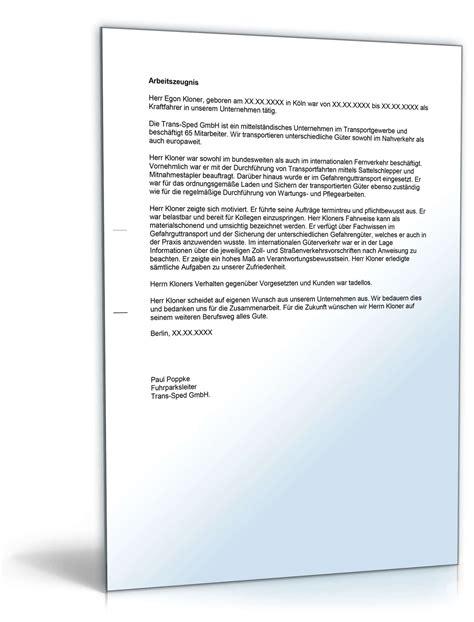 Musterbrief Bearbeitungsgeb Hr Kredit Word arbeitszeugnis berufskraftfahrer note vier vorlage zum