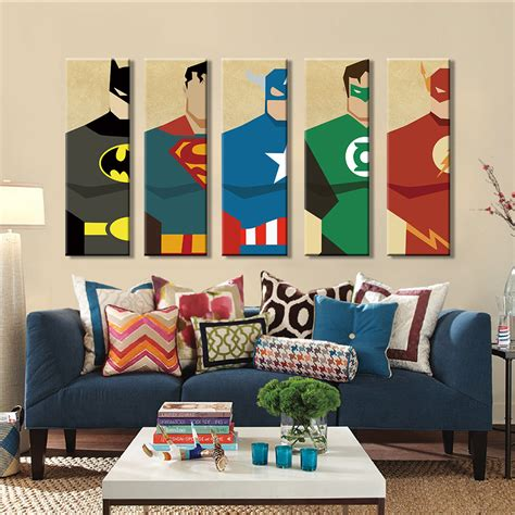 Modern Home Wall Decor Aliexpress Buy Superman Canvas Painting 5 Pieces Modern Home Wall Decor Canvas