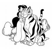 Jasmine With Her Tiger Rajah Coloring Page  SuperColoringcom