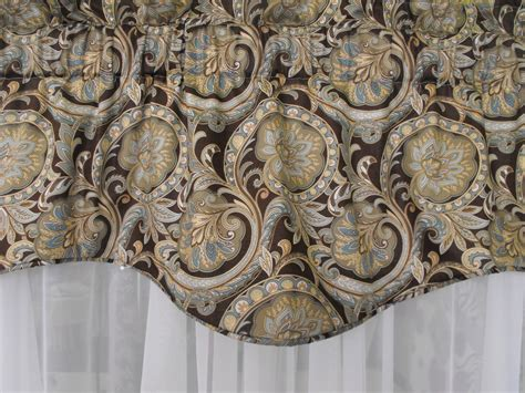Teal And Brown Window Valance Window Topper 50w X 18 Brown Teal Spa Teal Pale